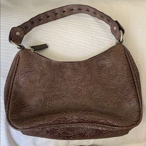 Old Navy Etched Floral Print Faux Leather Purse